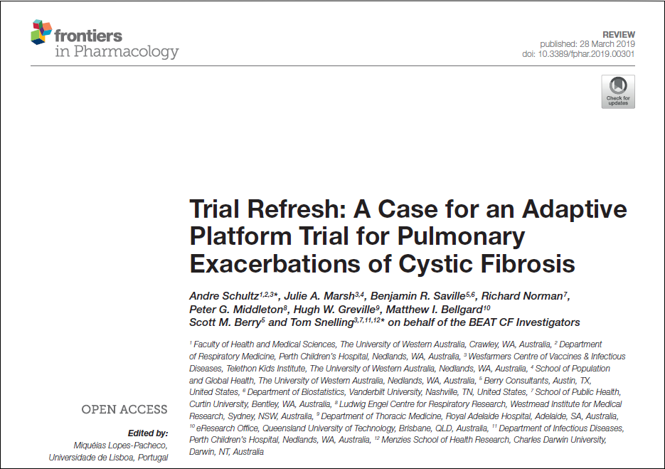 Trial refresh: A case for an adaptive platform trial for Pulmonary exacerbations of cystic fibrosis